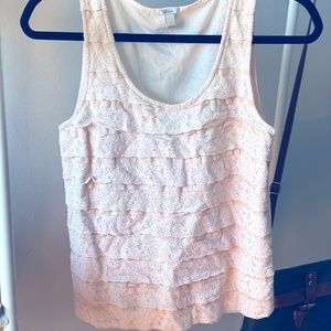 Peach/Pink Ruffle Lace Top